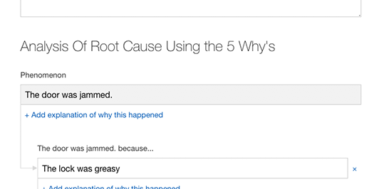 maintenance root cause analysis feature