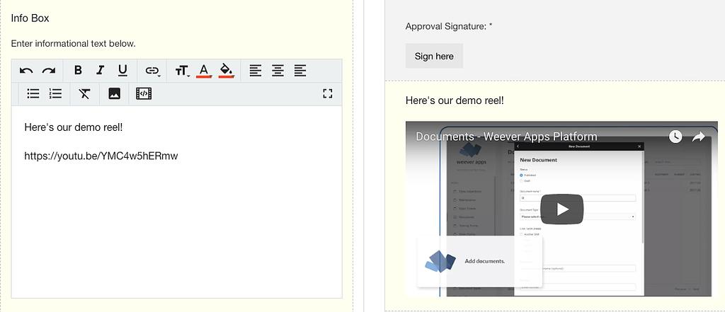 Info Box - Field Settings - Adding a video - small